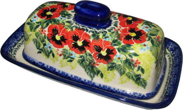 "Boleslawiec Polish Pottery UNIKAT One Stick Butter Dish American Style ""Summer Day"""
