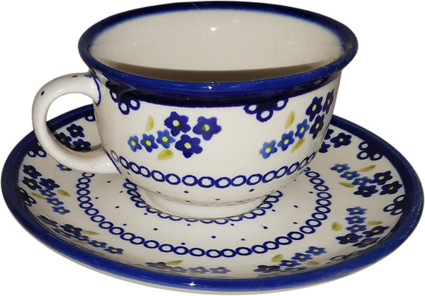 "Boleslawiec Polish Pottery UNIKAT Cup and Saucer ""Forget Me Not"""