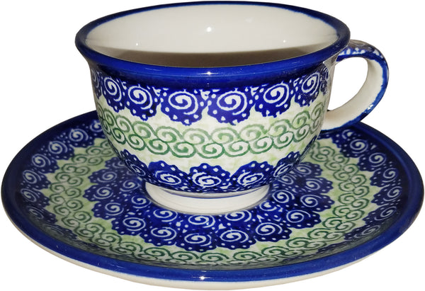 "Boleslawiec Polish Pottery UNIKAT Cup and Saucer ""Alex"""