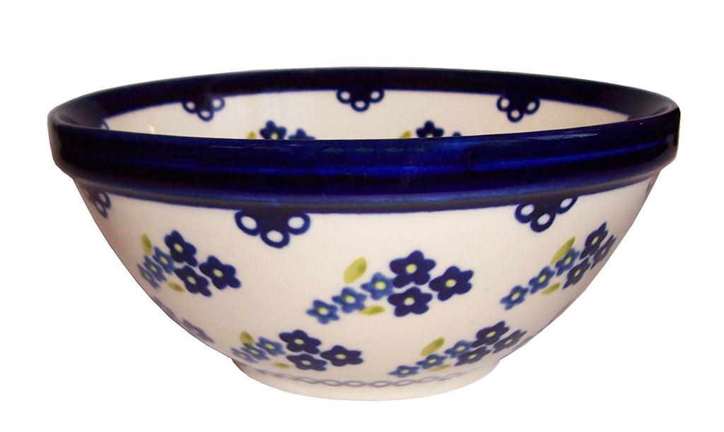 "Boleslawiec Polish Pottery UNIKAT Cereal or Chilli Bowl ""Forget Me Not"""