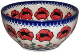 "Boleslawiec Polish Pottery UNIKAT Pasta or Soup Serving Bowl ""Poppy Field"""