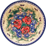 "Boleslawiec Polish Pottery UNIKAT Cereal or Chili Serving Bowl ""Wild Roses"""
