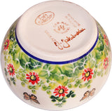 "Boleslawiec Polish Pottery UNIKAT Cereal, Chili or Serving Bowl ""Spring"""