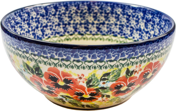 "Boleslawiec Polish Pottery UNIKAT Pasta or Soup Serving Bowl ""Summer Day"""