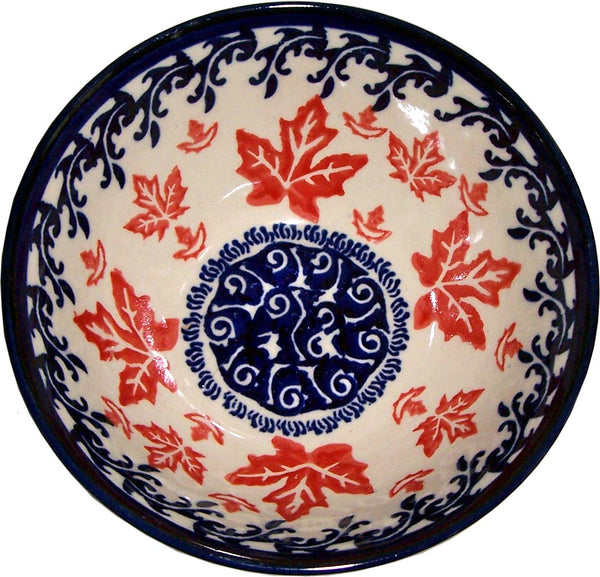 "Boleslawiec Polish Pottery UNIKAT Cereal or Chili Serving Bowl ""Maple Leaf"""