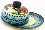 "Boleslawiec Polish Pottery UNIKAT Covered Cheese or Butter Dish ""Veronica"""