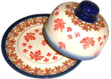 "Boleslawiec Polish Pottery UNIKAT Covered Cheese or Butter Dish ""Autumn"""