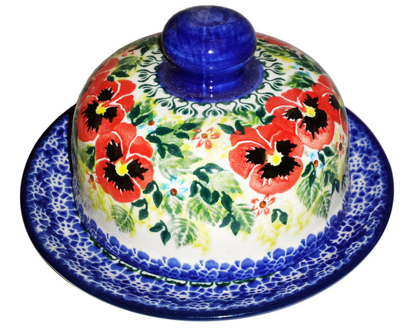 "Boleslawiec Polish Pottery UNIKAT Covered Butter or Cheese Dish ""Summer Day"""