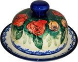 "Boleslawiec Polish Pottery UNIKAT Covered Butter or Cheese Dish ""Rose Garden"""