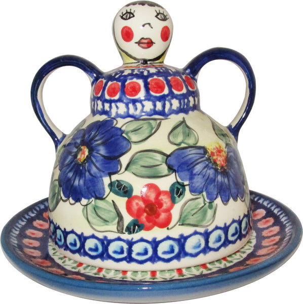 "Boleslawiec Polish Pottery UNIKAT Cheese Lady Butter Dish ""Patricia"""