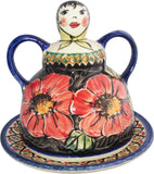 "Boleslawiec Polish Pottery UNIKAT Cheese Lady Butter Dish ""Red Garden"""