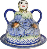 "Boleslawiec Polish Pottery UNIKAT Cheese Lady Butter Dish ""Isabelle"""