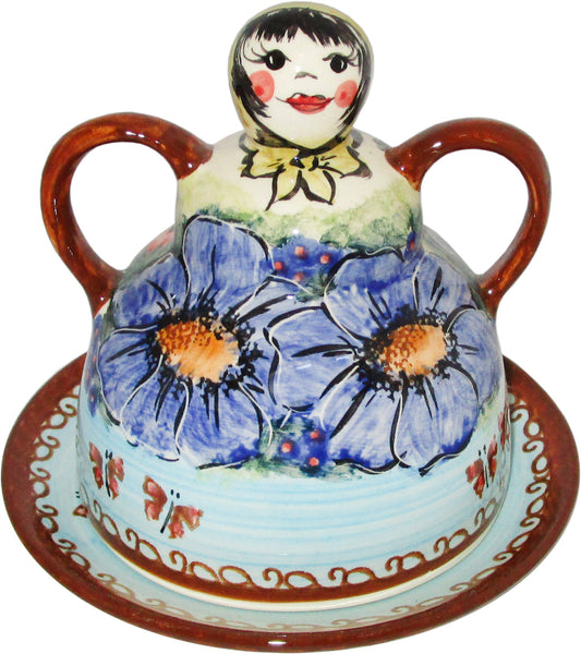 "Boleslawiec Polish Pottery UNIKAT Cheese Lady Butter Dish ""Blue Sky Meadow"""