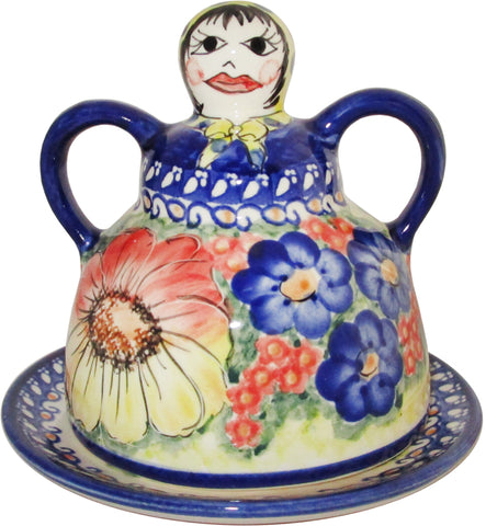 Boleslawiec Polish Pottery UNIKAT Cheese Lady Butter Dish