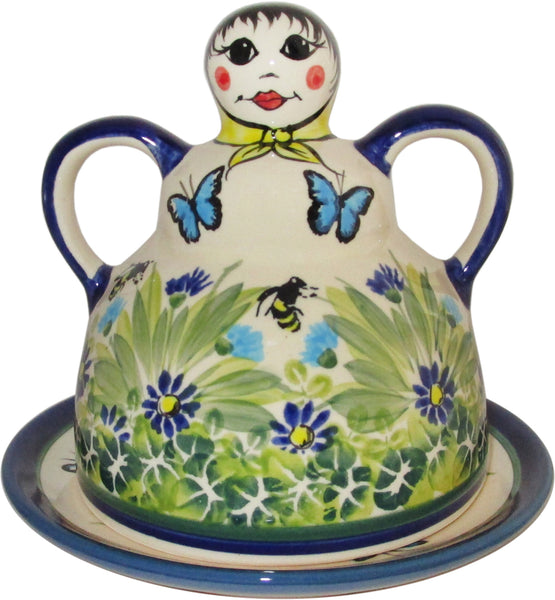 "Boleslawiec Polish Pottery UNIKAT Cheese Lady Butter Dish ""Serenity"""