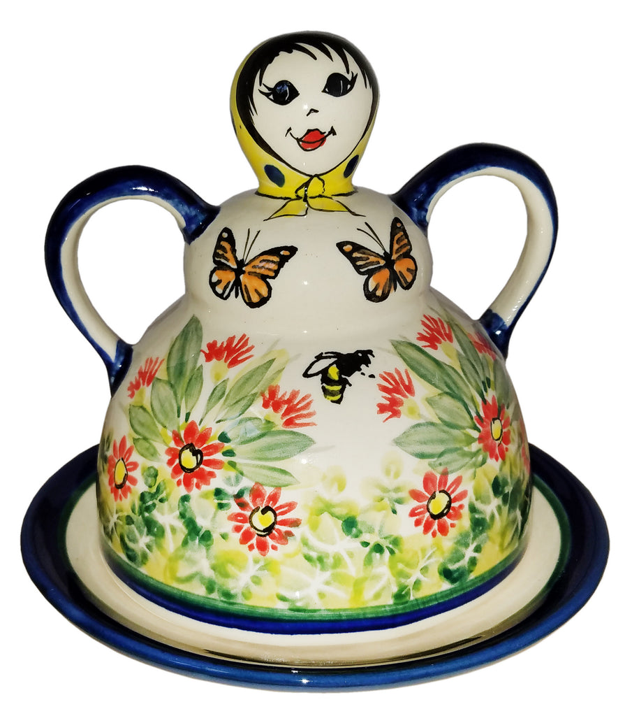 "Boleslawiec Polish Pottery UNIKAT Cheese Lady Butter Dish ""Spring"""
