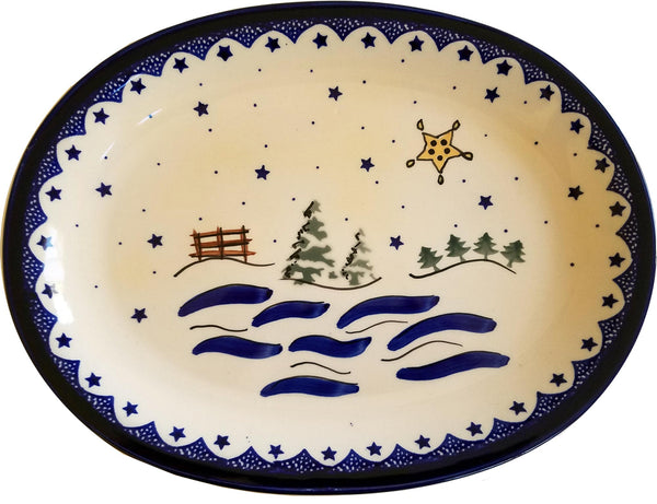 "Boleslawiec Polish Pottery Christmas Serving Platter ""Silent Night"""