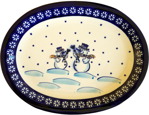 "Boleslawiec Polish Pottery Christmas Serving Platter ""Snowman"""