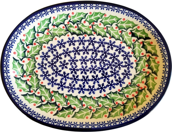 "Boleslawiec Polish Pottery Christmas Serving Platter ""Holly"""
