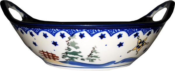 "Boleslawiec Polish Pottery UNIKAT Small Bowl with Handles ""Silent Night"""
