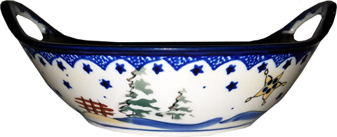 Boleslawiec Polish Pottery UNIKAT Small Bowl with Handles