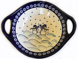 "Boleslawiec Polish Pottery UNIKAT Small Bowl with Handles ""Snowman"""