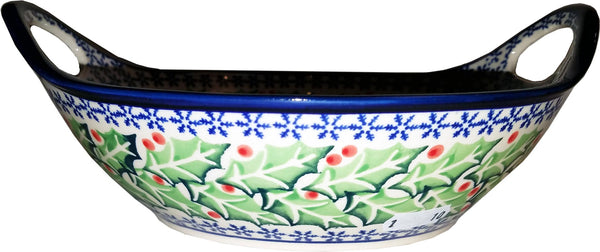 "Boleslawiec Polish Pottery UNIKAT Small Bowl with Handles ""Holly"""
