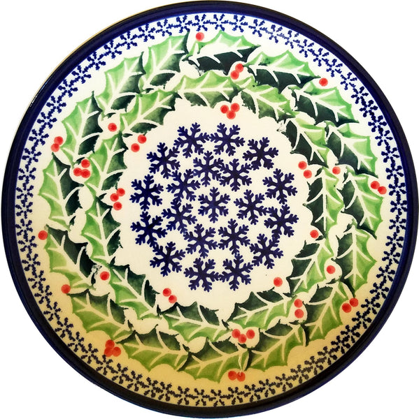 "Boleslawiec Polish Pottery Christmas Breakfast, Salad or Dessert Plate ""Holly"""