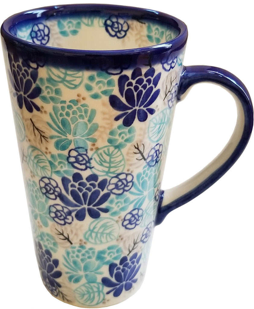 "Boleslawiec Polish Pottery Bistro mug 16 oz, Unikat Eva's Collection ""Lotus Symphony"""