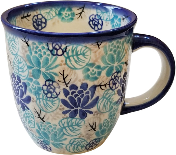"Boleslawiec Polish Pottery Coffee or Tea Mug Unikat Eva's Collection ""Lotus Symphony"""