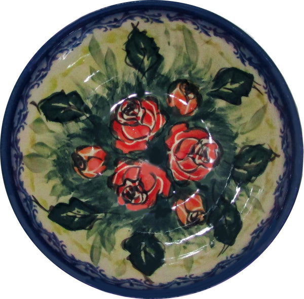 "Boleslawiec Polish Pottery UNIKAT Ice Cream or Condiment Bowl ""Rose Garden"""