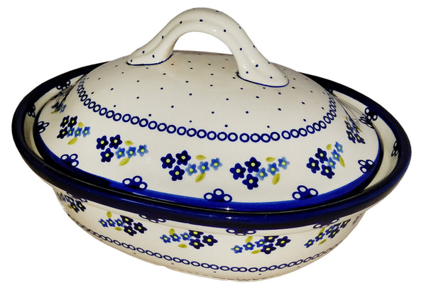 "Boleslawiec Polish Pottery UNIKAT Oval Baker with Cover ""Forget Me Not"""