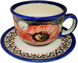 "Boleslawiec Polish Pottery UNIKAT Cup and Saucer ""Red Garden"""