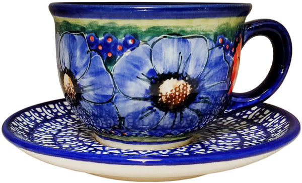 "Boleslawiec Polish Pottery UNIKAT Cup and Saucer ""Isabelle"""