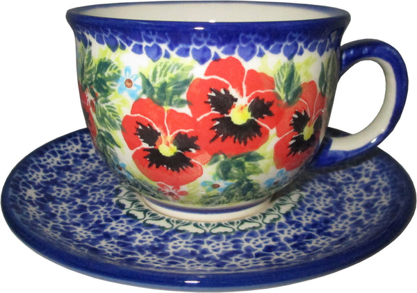 "Boleslawiec Polish Pottery UNIKAT Cup and Saucer ""Summer Day"""