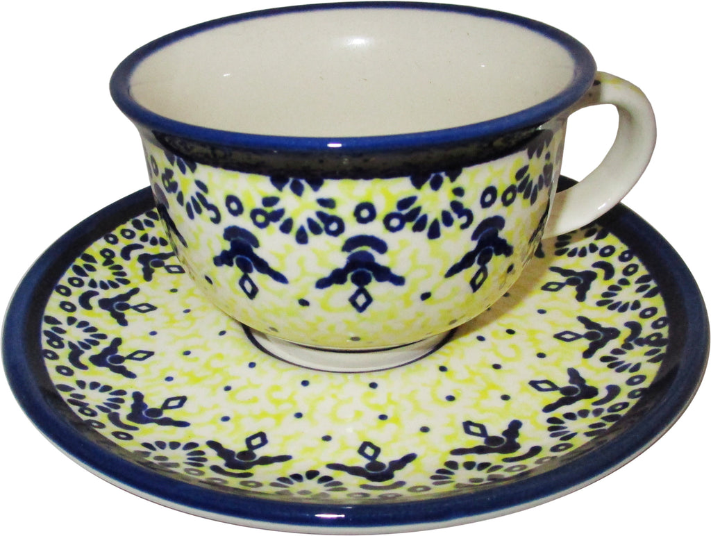 "Boleslawiec Polish Pottery UNIKAT Cup and Saucer ""Lace"""