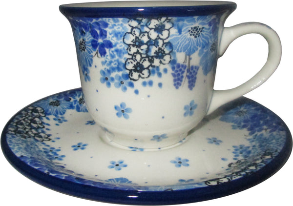 Boleslawiec Polish Pottery UNIKAT Cup and Saucer 4657