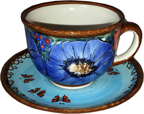 "Boleslawiec Polish Pottery UNIKAT Cup and Saucer ""Blue Sky Meadow"""