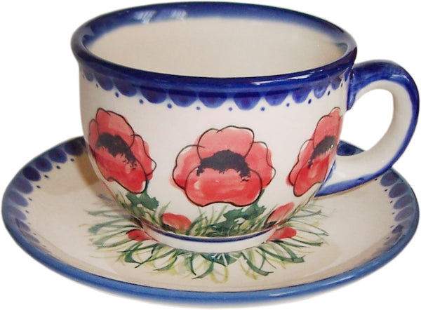 "Boleslawiec Polish Pottery UNIKAT Cup and Saucer ""Poppy Field"""