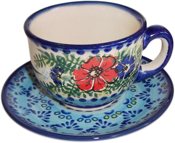 "Boleslawiec Polish Pottery UNIKAT Cup and Saucer ""Veronica"""