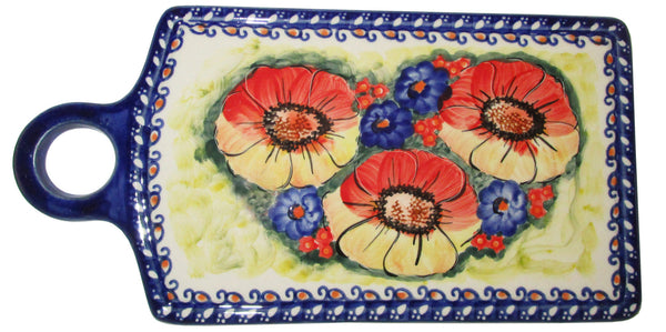 "Boleslawiec Polish Pottery UNIKAT Cutting or Cheese Board Trivet ""Flower Field"""