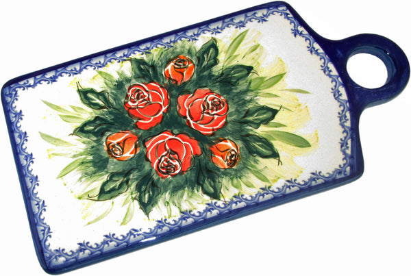 "Boleslawiec Polish Pottery UNIKAT Cutting Cheese Board or Trivet ""Rose Garden"""