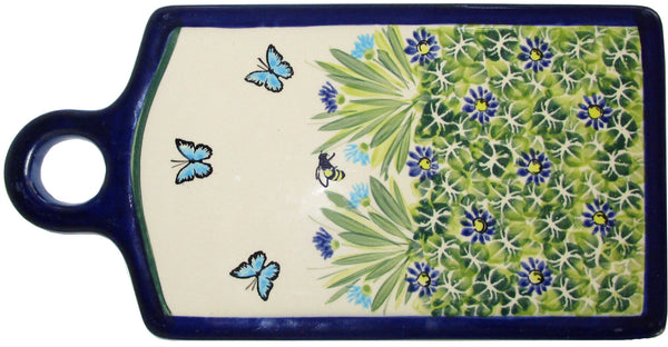 "Boleslawiec Polish Pottery UNIKAT Cutting Cheese Board or Trivet ""Serenity"""
