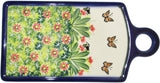 "Boleslawiec Polish Pottery UNIKAT Cutting Cheese Board or Trivet ""Spring"""