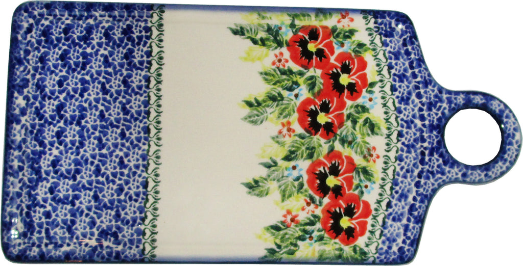 "Boleslawiec Polish Pottery UNIKAT Cutting Cheese Board or Trivet ""Summer Day"""