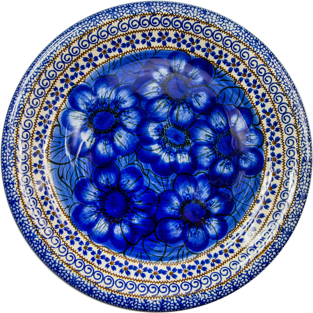 "Boleslawiec Polish Pottery UNIKAT Dinner Serving Plate ""Blue Garden"""