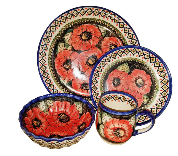 "Boleslawiec Polish Pottery UNIKAT 4 Pcs Place Setting ""Red Garden"""