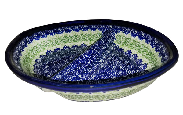 "Boleslawiec Polish Pottery UNIKAT Divided Serving Platter ""Alex"""