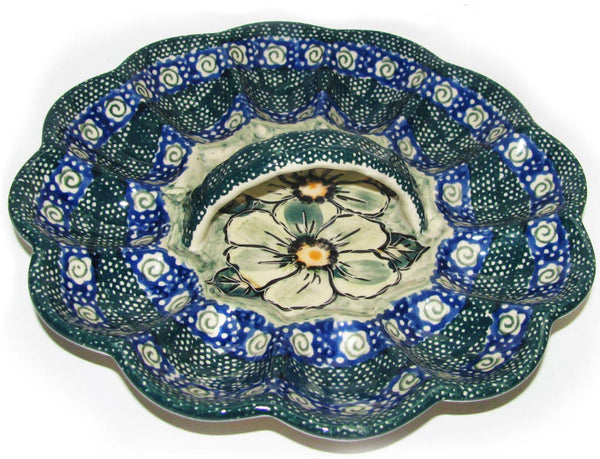 "Boleslawiec Polish Pottery UNIKAT Egg Serving Plate ""Green Garden"""