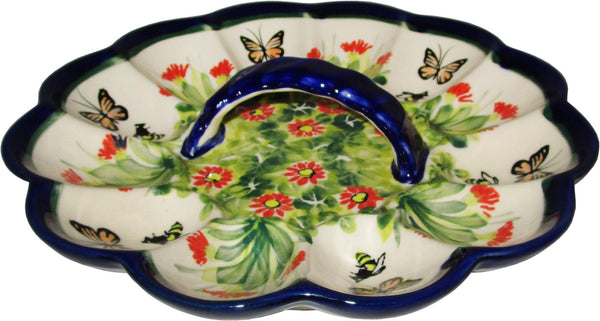 "Boleslawiec Polish Pottery UNIKAT Egg Serving Plate ""Spring"""